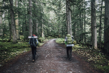 Canada, British Columbia, Mount Robson Provincial Park, hikers on Berg Lake Trail - GUSF00472
