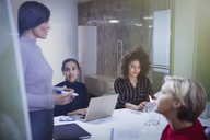 Businesswomen planning, talking in conference room meeting - CAIF06142