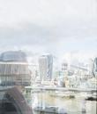 Pensive businessman looking at urban city view, London, UK - CAIF06361