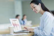 Smiling businesswoman working at laptop with coffee in conference room - CAIF06756