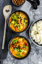 Red curry in bowls, rice and roasted chickpeas - SARF03600