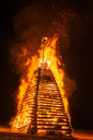 Germany, Bavaria, Reichenbach, Bonfire, wood tower - WGF01169