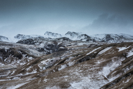 Snowy remote mountain range, Iceland - CAIF07507