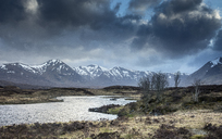 Scenic river and view of Black Mountains, Rannoch Moor, Scotland - CAIF07510