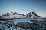 Icy beach and mountains, Hofn, Iceland - CAIF07624