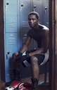 Portrait of boxer in locker room - CAVF03529