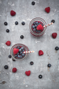 Two glass bottles of berry smoothie - LVF06769