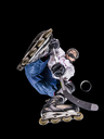 Athlete playing roller hockey, view from below - STSF01476