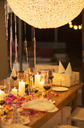 Candles and gifts on table at birthday party - CAIF08469