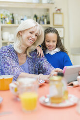Grandmother and granddaughter using digital tablet at breakfast table - CAIF08883