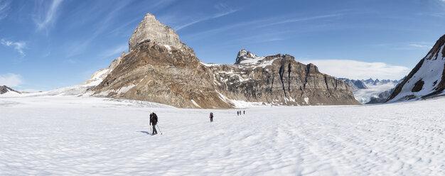 Greenland, Sermersooq, Kulusuk, Schweizerland Alps, group of people walking in snow - ALRF00964