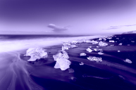 Iceland, Jokulsarlon, glacial ice on the beach in the evening - SMAF00982