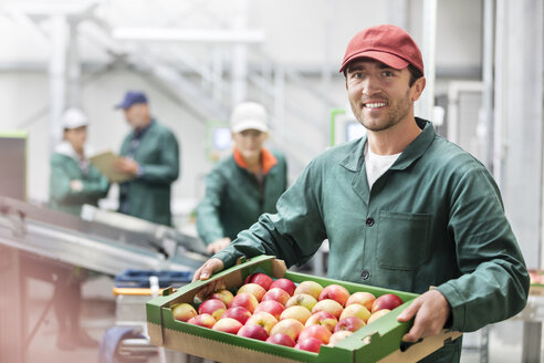 Portrait smiling worker holding box of apples in food processing plant - CAIF09955