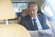 Businessman reviewing paperwork in back seat of town car - CAIF10263