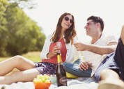 Couple drinking champagne on picnic blanket in sunny field - CAIF12302