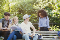 College students hanging out studying on park bench - CAIF12341