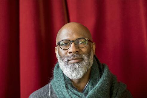 Portrait of smiling bald man with full beard wearing glasses - FMKF04909