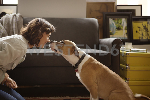 Woman rubbing nose with dog at home - CAVF05628 - Cavan Images/Westend61