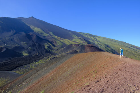 Italy, Sicily, Mount Etna, man hiking - LBF01851