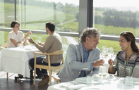 Couple toasting wine glasses in sunny winery dining room - CAIF13352