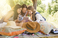 Three teenage girls using digital tablet in tree house - CAIF13442