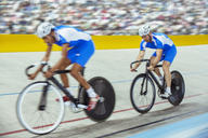 Track cyclists in velodrome - CAIF14159