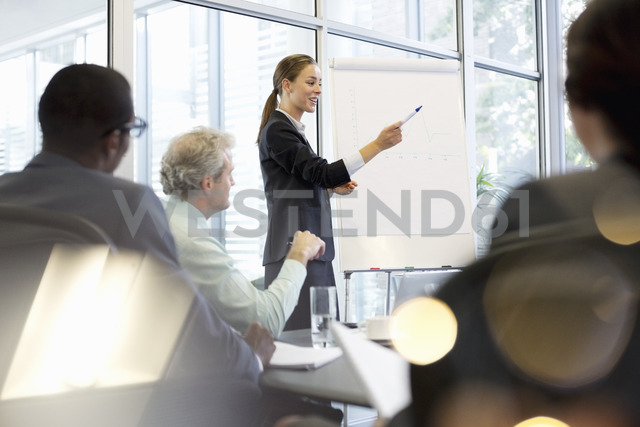 Businesswoman at flipchart leading meeting in conference room - CAIF14216