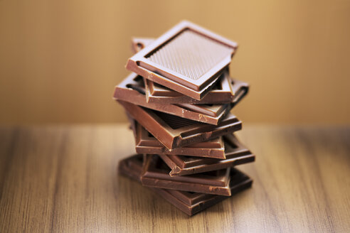 Close up of stack of chocolate squares - CAIF14492