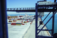 Crane and cargo containers at waterfront - CAIF15107