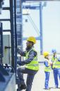 Worker climbing cargo crane - CAIF15146