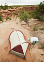 High angle view of man making tent - CAVF06204