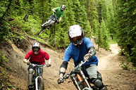 Male athletes cycling in forest - CAVF06237