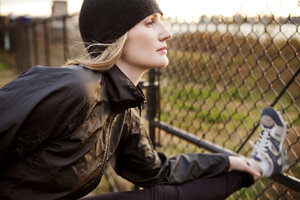 Woman exercising outdoors - CAVF06303
