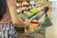 Close up of woman pushing full shopping cart in grocery store - CAIF15564
