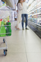 Defocussed view of couple shopping together in grocery store - CAIF15576