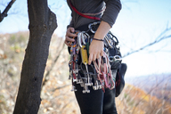 Midsection of woman with climbing equipment standing by tree trunk - CAVF07804