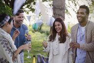 Smiling friends drinking champagne at garden party - CAIF16044