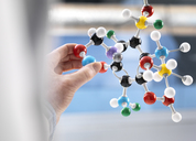 Scientist holding a molecular model - ABRF00123