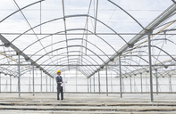 Architect with blueprint in empty greenhouse - CAIF16451