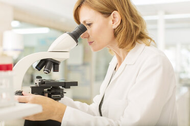 Scientist using microscope in laboratory - CAIF16517