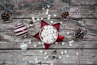 Hot Chocolate with marshmellows and christmas baubles - LVF06779