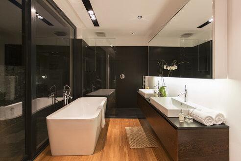 Bathtub and sinks in modern bathroom - CAIF17168