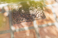 Sun shining through tree branches on welcome mat - CAIF17301