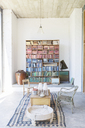 Bookshelves and coffee table in rustic house - CAIF17531