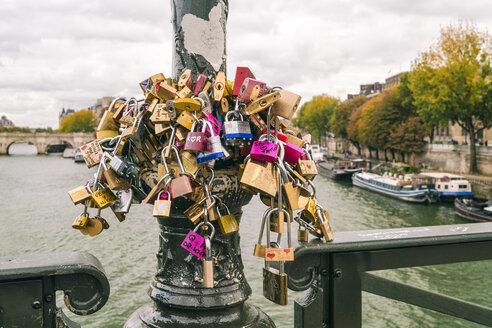 France, Paris, love locks on pole, Seine river - TAM00948