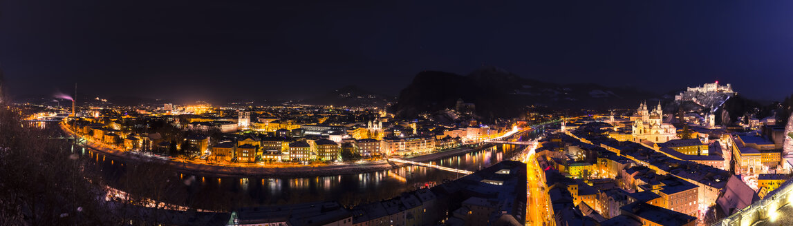 Austria, Salzburg, cityscape at night as seen from Moenchsberg - STCF00419
