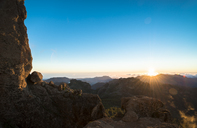 Spain, Canary Islands, Gran Canaria, view from Roque Nublo at sunset - STCF00428