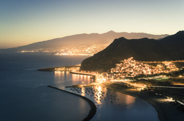 Spain, Canary Islands, Tenerife, San Andres beach at night - STCF00449