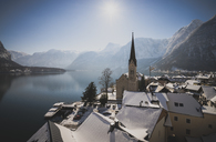 Austria, Salzkammergut, Hallstatt with Lake Hallstatt and Protestant church - STCF00470