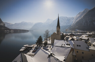 Austria, Salzkammergut, Hallstatt with Lake Hallstatt and Protestant church - STCF00470